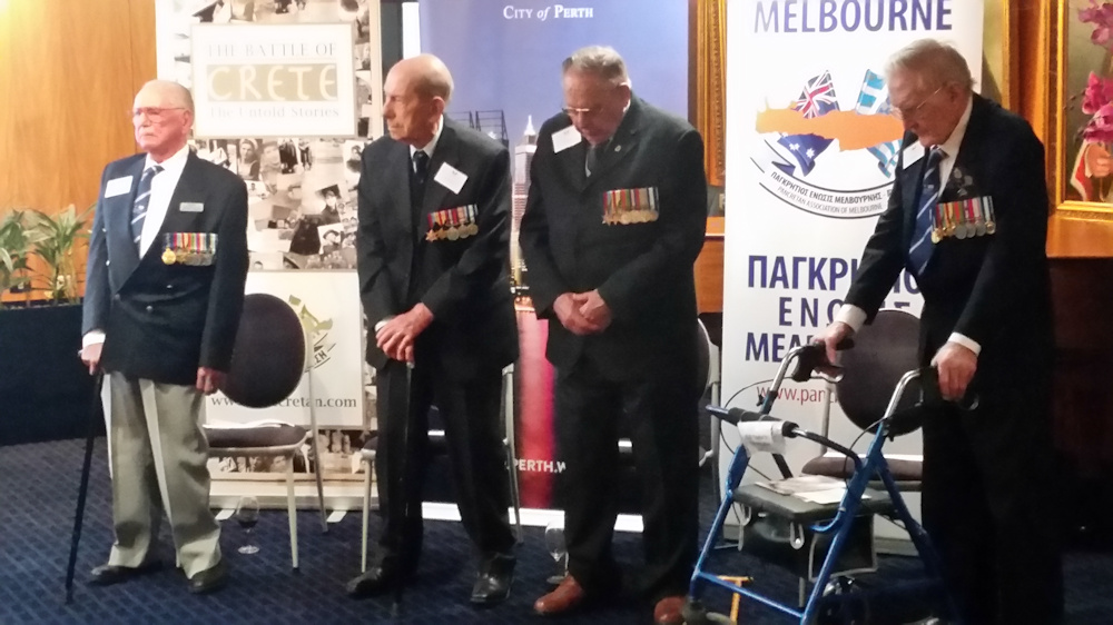 West Australian Battle of Crete veterans 27 June 2016 Arthur Leggatt, Hal Finkelstein, Norm Eaton and Bill Taylor