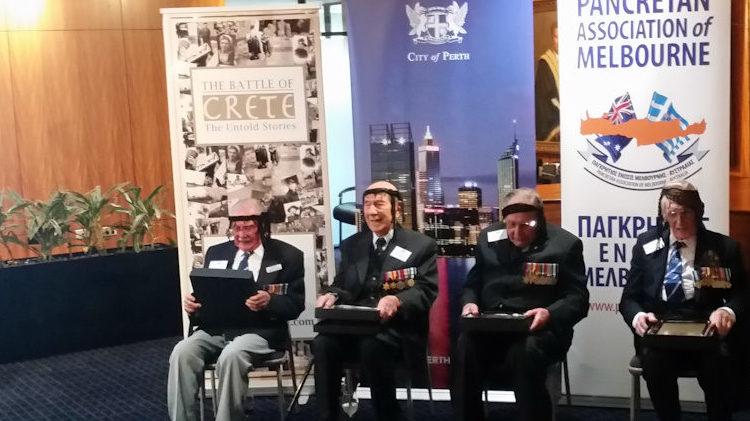 Western Australian Battle of Crete veterans Arthur Leggatt, Hal Finkelstein, Norm Eaton and Bill Taylor