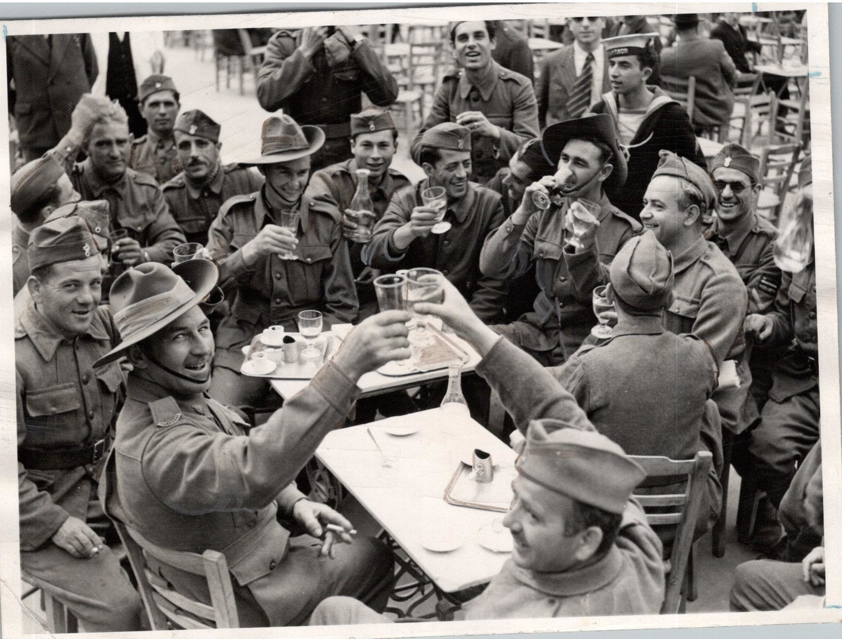 Australian and Greek Soldiers in a cafe in Athens